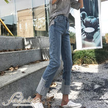 Denim Blended Fabrics Plain Long Short Length Jeans