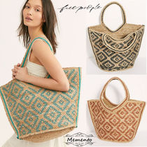 Free People A4 Tribal Oversized Straw Bags