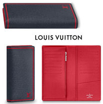 Louis Vuitton BRAZZA Stripes Street Style Leather Long Wallets