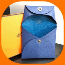 HERMES Bastia Bi-color Plain Leather Coin Purses