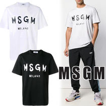 MSGM Crew Neck Pullovers Street Style Cotton Short Sleeves