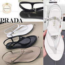 PRADA Open Toe Plain Leather Elegant Style Sandals