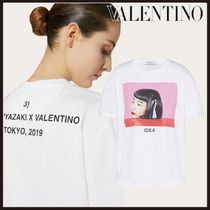 VALENTINO Crew Neck Short Plain Cotton Short Sleeves With Jewels