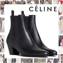 CELINE Plain Toe Blended Fabrics Plain Leather Block Heels