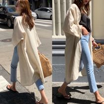 Casual Style Linen Street Style Cropped Plain Long Oversized