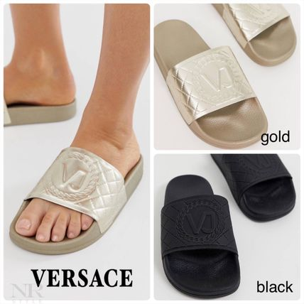Open Toe Plain Shower Shoes Flat Sandals