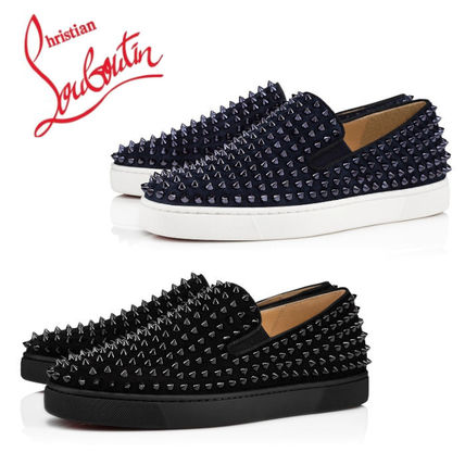 0b09f11b5c5 Christian Louboutin ROLLER BOAT Suede Studded Plain Loafers & Slip-ons  (1120387B049, 1120387V088)