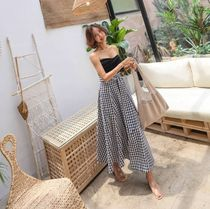 Gingham Casual Style Long Maxi Skirts
