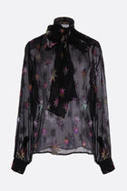 Saint Laurent Star Silk Long Sleeves Medium Party Style Shirts & Blouses