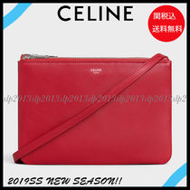CELINE Trio Bag Lambskin Blended Fabrics 2WAY Plain Elegant Style