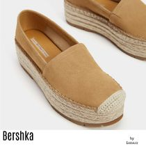 Bershka Platform Plain Toe Casual Style Plain Leather Lace-Up Shoes