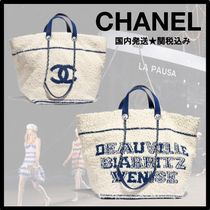 CHANEL DEAUVILLE Casual Style Lambskin A4 Plain Totes