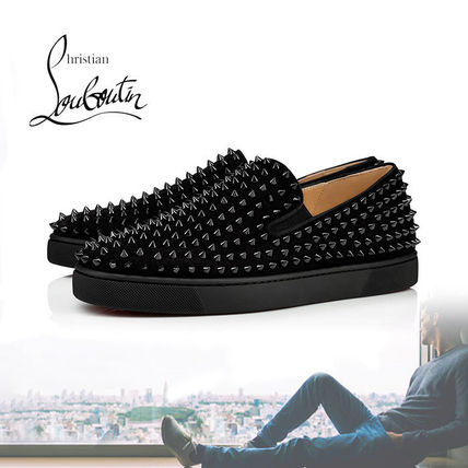 info for be977 b5901 Christian Louboutin ROLLER BOAT Suede Studded Street Style Sneakers  (1120387B049)