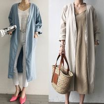 Casual Style Plain Long Jackets