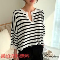 Stripes Casual Style V-Neck Cropped Medium Sweaters