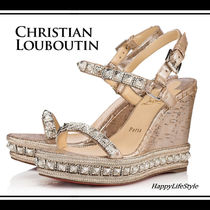 Christian Louboutin Pyradiams Open Toe Casual Style Blended Fabrics Studded Plain Leather