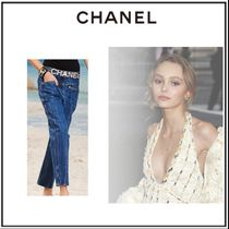 CHANEL Denim Plain Long Skinny Jeans