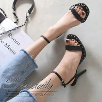Open Toe Casual Style Faux Fur Pin Heels Heeled Sandals