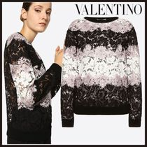 VALENTINO Crew Neck Short Stripes Bi-color Long Sleeves Lace