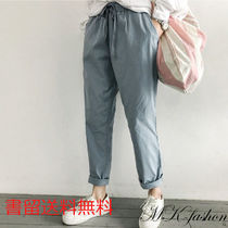 Casual Style Plain Cotton Long Wide Leg Pants