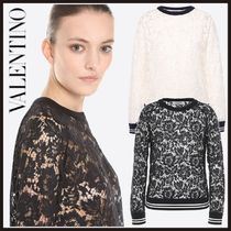VALENTINO Crew Neck Short Long Sleeves Lace Long Sleeve T-shirt
