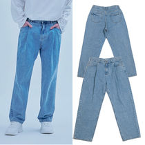 ADD SEOUL Street Style Plain Cotton Oversized Jeans & Denim