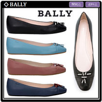 BALLY Round Toe Rubber Sole Leather Elegant Style Flats