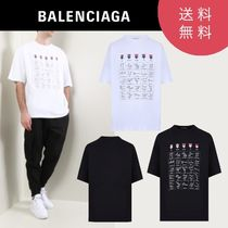 BALENCIAGA U-Neck Plain Short Sleeves T-Shirts