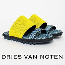 Dries Van Noten Open Toe Rubber Sole Casual Style Leather Footbed Sandals