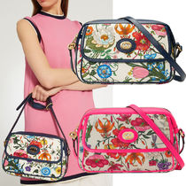 GUCCI Flower Patterns 2WAY Leather Shoulder Bags