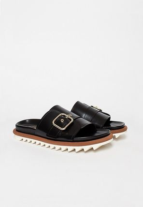 Open Toe Rubber Sole Casual Style Leather Footbed Sandals