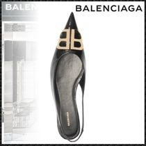 BALENCIAGA Open Toe Plain Leather Elegant Style Peep Toe Pumps & Mules