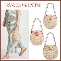 FRANCIS VALENTINE Blended Fabrics Leather Straw Bags