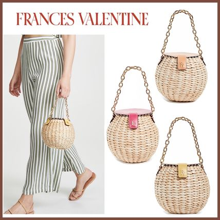 Blended Fabrics Leather Straw Bags