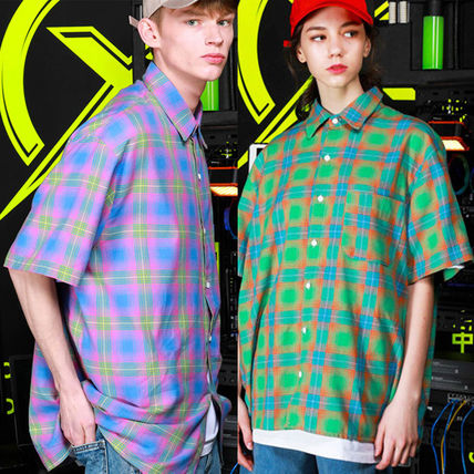 Other Check Patterns Casual Style Unisex Street Style Cotton