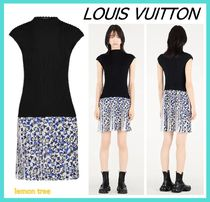 Louis Vuitton Monogram Wool Blended Fabrics Sleeveless Plain Dresses