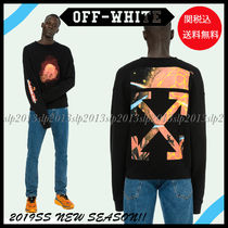Off-White Crew Neck Unisex Blended Fabrics Collaboration Long Sleeves