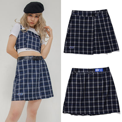 Flared Skirts Other Plaid Patterns Casual Style Street Style
