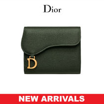 Christian Dior Calfskin Blended Fabrics Street Style Plain Folding Wallets