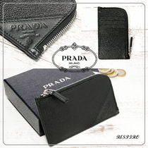 PRADA Plain Leather Coin Cases