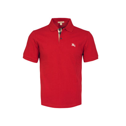 Burberry Polos Authentic Burberry Men Military Red Check Placket Polo Shirt
