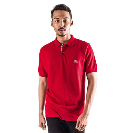 Burberry Polos Authentic Burberry Men Military Red Check Placket Polo Shirt 2
