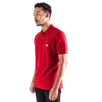 Burberry Polos Authentic Burberry Men Military Red Check Placket Polo Shirt 3