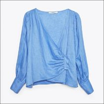 Uterque Linen Cross Over Shirt with Puffed Sleeves