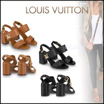Louis Vuitton Open Toe Blended Fabrics Plain Leather Block Heels