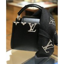 Louis Vuitton CAPUCINES Blended Fabrics 2WAY Plain Leather Elegant Style Crossbody