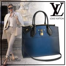 Louis Vuitton CITY STEAMER Calfskin A4 3WAY Plain Elegant Style Handbags