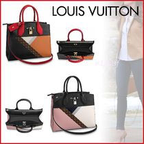 Louis Vuitton CITY STEAMER Monogram Blended Fabrics 2WAY Bi-color Leather Elegant Style