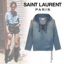 Saint Laurent Lace-up Denim Long Sleeves Hoodies & Sweatshirts