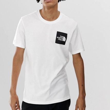 THE NORTH FACE Crew Neck Crew Neck Street Style Plain Cotton Short Sleeves 3